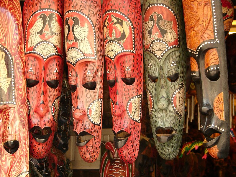 Masks on sale in Chinatown, Melaka