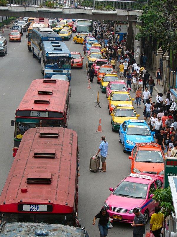 Multicoloured traffic jam outside Chatuchak Park