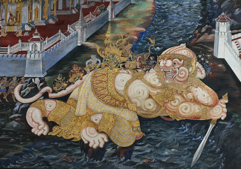 Hanuman turns himself into a bridge