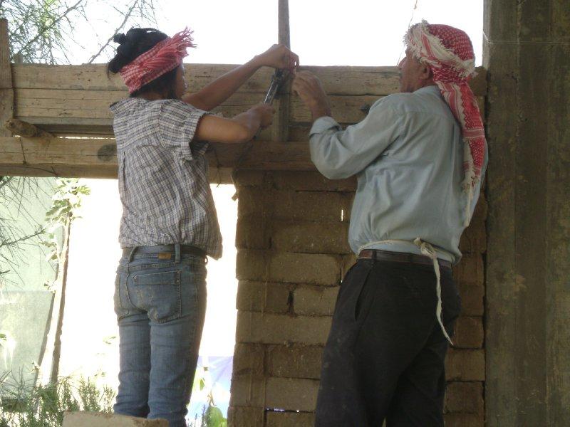 Building the mud brick wall
