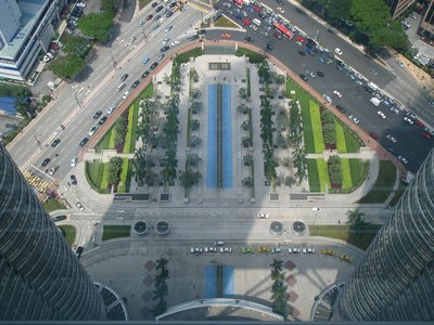 Perfect Symmetry - Looking down the Petronas Towers, Kuala Lumpur
