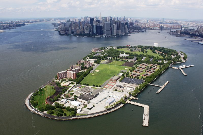 By helicopter over Governors Island