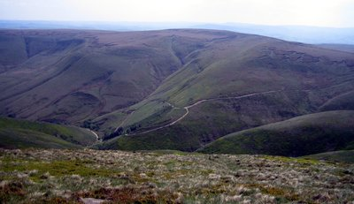 view of jacobs ladder path cutting through hillside
