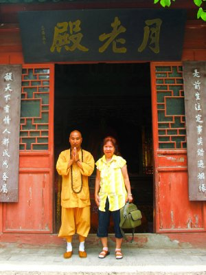 This is a monk that Sunee visited with and he was very friendly