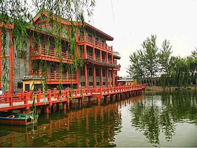 Large Orange building on the Dragon Pavilion Lake