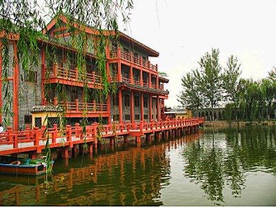 Large Orange building on the Dragon Pavilion Lake