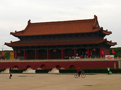 Commercial Chinese-style Red Building in the area of the monument