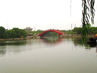 The famous Red Bridge over the river