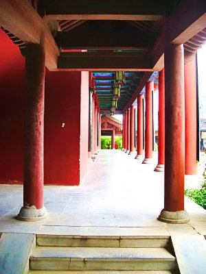 Beautiful red Porch with pillars