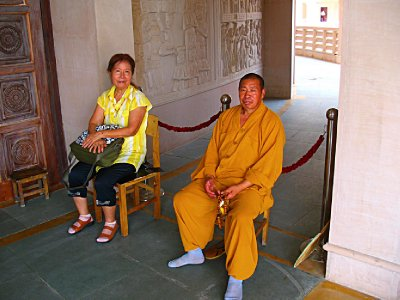 Relaxing with a very friendly Monk