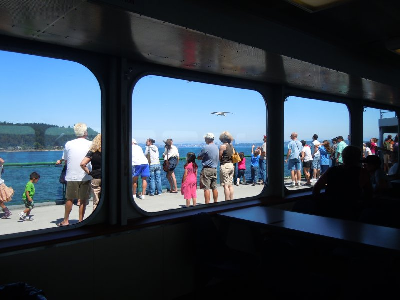 Ferry passengers gawking at the Seattle skyline