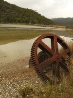 Rusted wheel on Lake Okarito