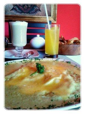 Swiss Enchiladas and drinks