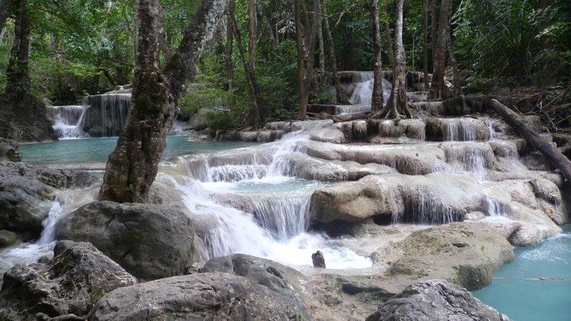 Beautiful Erawan Waterfall long shot