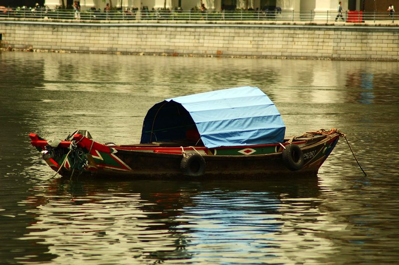 boat on the city