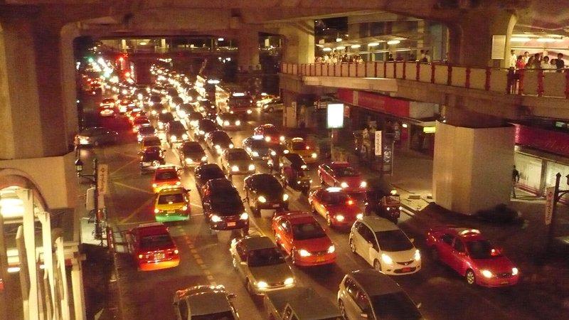 Siam Square traffic in Bangkok