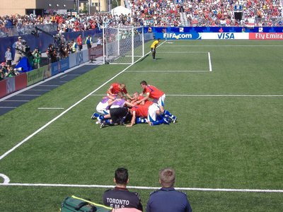 The Czechs score!  Czech U20 team celebrates.