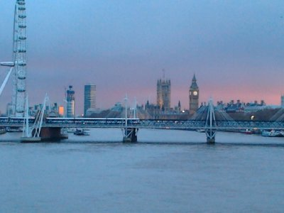 Charing Cross rail Bridge and St. Stephen's Tower from Waterloo Bridge