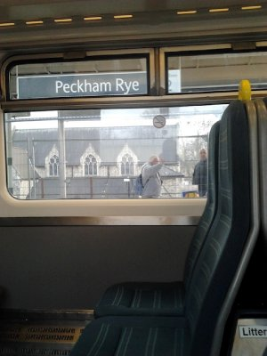 Peckham Rye station, last time that this Southern train upholstery could be seen here?