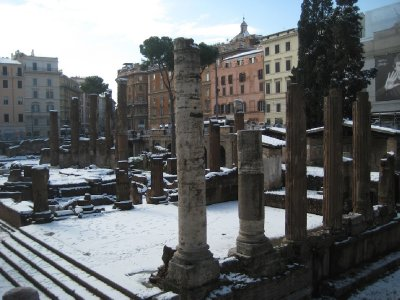 Columns at Largo di Torre Argentina in the snow