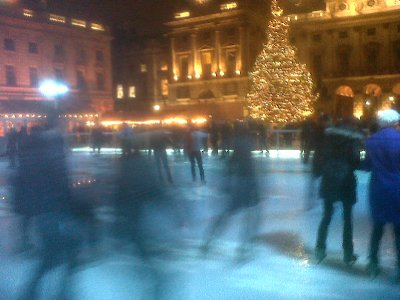 Rink with ghostly skaters, skating at Somerset House
