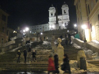 Spanish Steps, icy and treacherous
