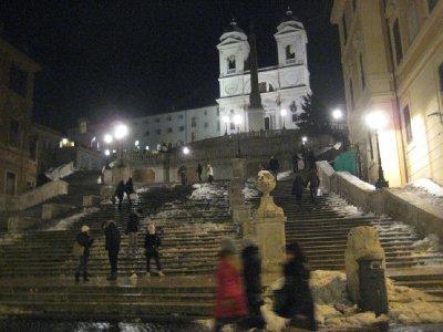 Spanish Steps, icy and treacherous