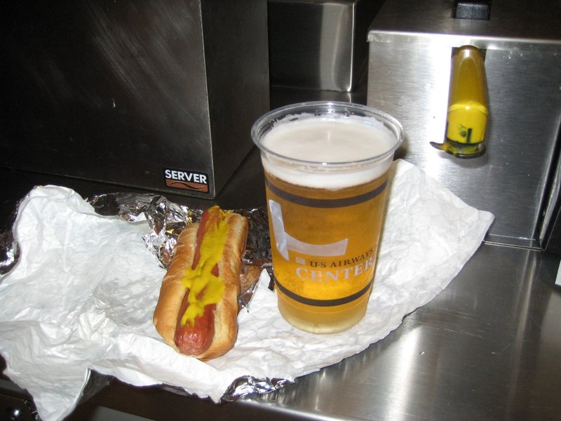 Hotdog and Beer at a game.  That's good eats.