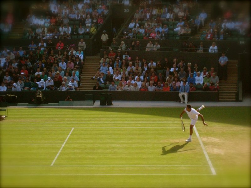 Tsonga on Number 1 Court, The Championship, All England Lawn Tennis and Croquet Club, Wimbledon