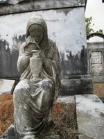 Cemetary crying statue