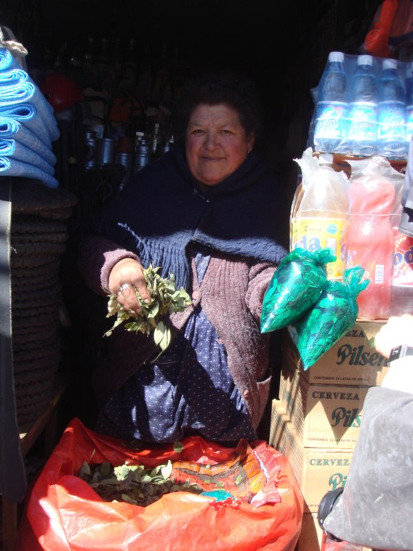Selling coca leaves for the miners