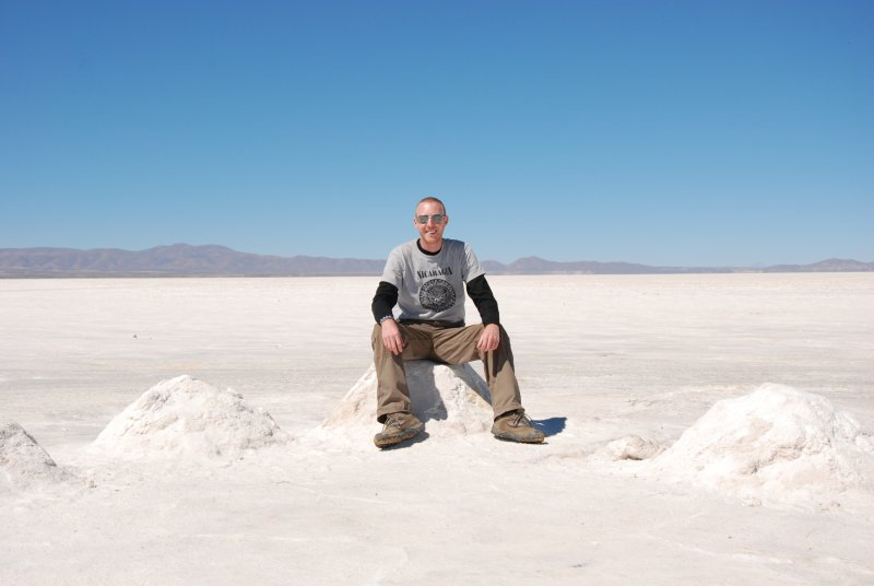 Ross sitting on a salt pile