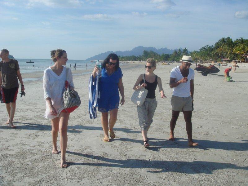beach group walk