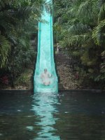 Ross on the water slide at La Fortuna