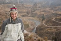 Lori overlooking the Inca Terraces