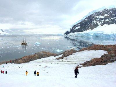 Bark Europa anchoring in Antarctica