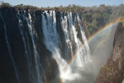 Victoria Falls is stunningly beautiful. It's the largest falls in the world at 5,600 feet wide and 360 feet high.