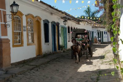 Colorful old town of Paraty. The colonial town on cobbled stone streets is made up of homes, restaurants, hotels and craft shops.