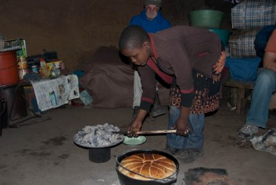 A local girl made us maize bread under hot cow dung coals. It actually tasted pretty good!