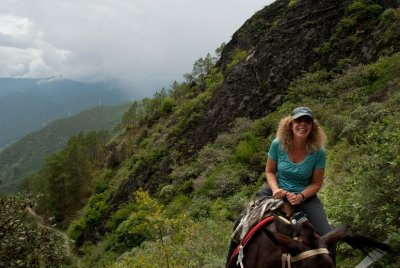 A mule helped Edie up 28 bends on the first day of the hike. She powered through challenging day number two by foot.