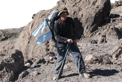 "Juan ""Commando"", the eldest of the group (age 53) and retired special forces marine, flew the Argentinian flag during the climb. I left my American flag at home ;-)"
