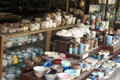 Pottery sold in a Machiya style store.