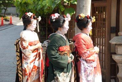 Geisha strolling through town.