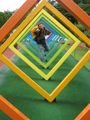 Dave gliding through sculpture at the Hakone Open Air Museum.
