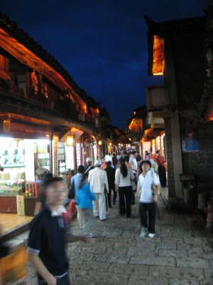 Lijiang lights up at night.