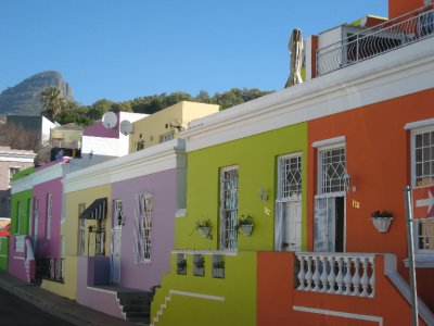 Colorful Bo Kaap is a Muslim neighborhood that is full of restaurants, shops and homes. South Africa has a large Muslim population that also faced Apartheid.