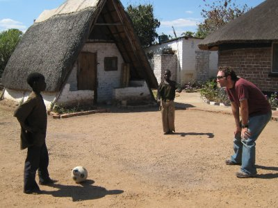 At one of our lunch stops on the road I struck up a little football challenge. I wasn't much of a match for this little Zambian!