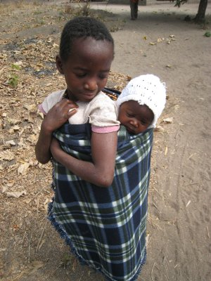 Children often care for younger siblings.
