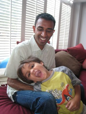 Our friend Raj was in London with his son Rishi for a family birthday party. Raj's sister Puja lives in the city.