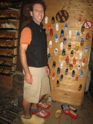 We stopped at a clog factory for Dave to get some new shoes.